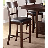 Set of 2 Counter Height Chairs with Dark Chocolate Faux Leather Seat and Solid Wood Finish