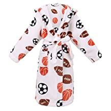 Arctic Paw Kids Hooded Printed Flannel Fleece Bathrobe with Side Pockets