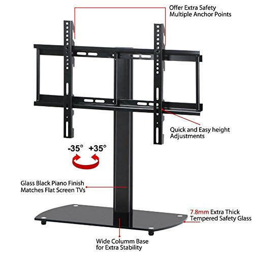 World Pride Universal TV Tabletop Base Stand with Adjustable Swivel (37 50