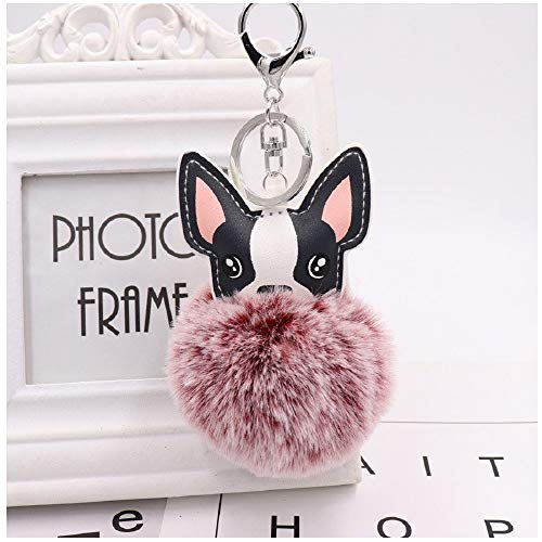 (PAPPET Bulldog Keychain Fluffy French Bulldog Key Chain Animal Plush Car Keyring Faux Fur Handbag Wallet Charm Pendant Backpack Accessories Valentines Birthday Gifts for Dog Lovers (Wine)