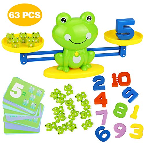 Aitbay Cool Math Game, Frog Balance Counting Toys for Boys & Girls Educational Number Toy Fun Children
