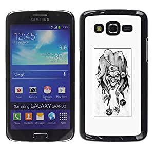 LauStart ( Evil Joker B & W ) Samsung Galaxy Grand 2 Arte & dise?o pl¨¢stico duro Fundas Cover Cubre Hard Case Cover para