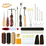 Vranky Leather Sewing Tools 31 Pcs DIY Hand Stitching Kit with Groover Awl Waxed Thimble Thread for Sewing Leather, Canvas or Other
