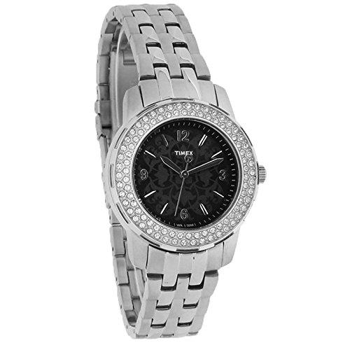 Timex Starlight Ladies Crystal Black Floral Dial Quartz Watch T2P397