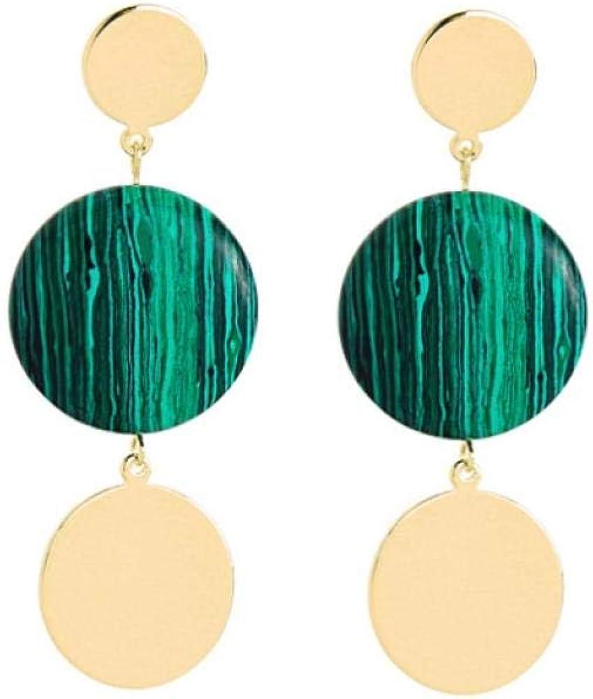 Pendientes redondos de piedra sintética para regalos de mujer Pendientes colgantes de hoja de latón más nuevos Accesorio de moda
