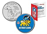 Licensed Detroit Lions 49ERS NFL Colorized Michigan Statehood Quarter! W/H COA & Display Stand!