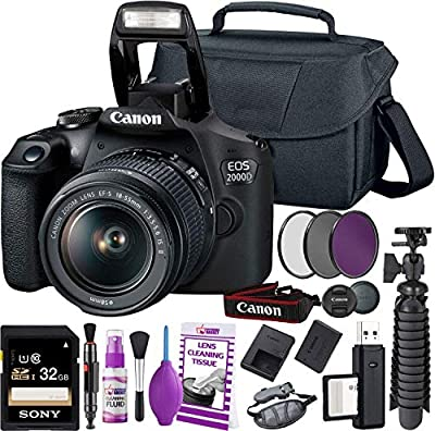 Canon Rebel T7 DSLR Camera (2000D) with EF-S 18-55 mm f/3.5-5.6 is DC III Lens + 32GB Memory Card + Camera Bag + Cleaning Kit + Table Tripod + Filters