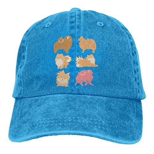 (Women's Men's Adjustable Baseball Cap Pomeranian Dog Classic Hat Blue )