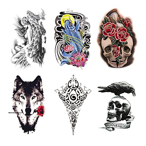 Fake Waterproof Removable Temporary Tattoos - Fashion Lady Long Lasting Body Art Stickers - Ferocious Wolf Fish Totem Crow Skull Clock Flower Hourglass - 6 Styles Body Painting Premium Kit for Guys (Best Skull Tattoos For Guys)