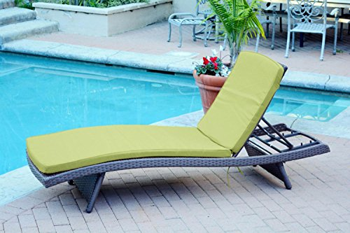 2 Adjustable Espresso Resin Wicker Outdoor Patio Chaise Lounge Chairs - Green Cushions price