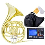 Cecilio 2Series FH-280 Single Key of F Yellow Brass French Horn, Gold