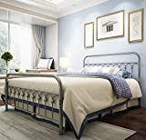 Metal Bed Frame Queen Size with Vintage Headboard and Footboard Platform Base Wrought Iron Bed Frame Gray Silver (Queen, Gray Silver)