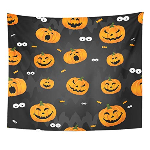 Emvency Wall Tapestry Orange Autumn Abstract for Girls Boys Kids Halloween Creative with Pumpkin Scary Face Funny and Style Colorful Bright Decor Wall Hanging Picnic Bedsheet Blanket 60x50 Inches ()
