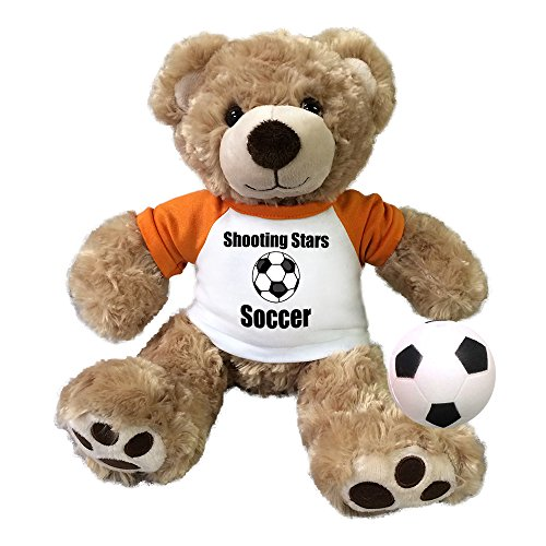 Personalized Soccer Teddy Bear - 13 Inch Honey Vera Bear