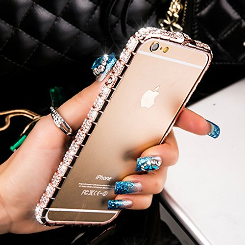 iPhone 8 case /iPhone 7 case /iPhone 6 Case /iPhone 6s Case Crystals Rhinestone Bling Metal Frame Bumper Sparkle Jeweled 100% Handcrafted with Shining Diamond (Snake-Rose Gold-4.7inch)