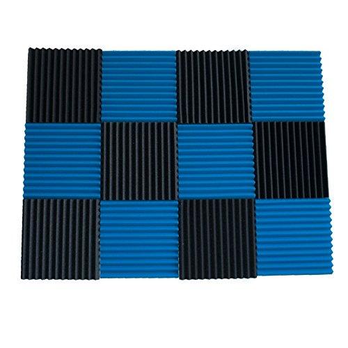 "12 Pack- Ice Blue/Charcoal Acoustic Panels Studio Foam Wedges 1"" X 12"" X 12"" - Image 1"