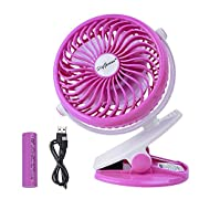 Battery Operated Clip on Fan for Baby Stroller Car Back Seat Laptop Travel Outdoors Camping,Small Personal Fan Mini Desk Table Fan Portable Hand Held Powered by Rechargeable 2600mAh Battery or USB