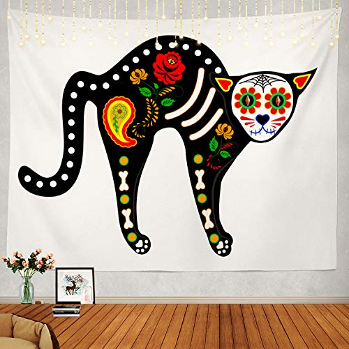 Shrahala Cat Tapestry, Black Cat Halloween Decorations Wall Hanging Large Tapestry Psychedelic Tapestry Decorations Bedroom Living Room Dorm