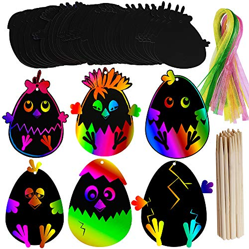 Supla 48 Set Easter Crafts for Kids Magic Scratch Art Rainbow Scratch Easter Day Ornaments Egg Chick Egg Cutouts Hanging Tags for Classroom Party Church Activities Spring Craft Easter Day Decoration -