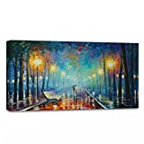 WallDeco Modern Landscape Painting On Canvas Night Rain Lover Wall Art Wall Decorations Artwork Stretched and Framed for Living Room Ready to Hang 24x12 inch 60x30 cm