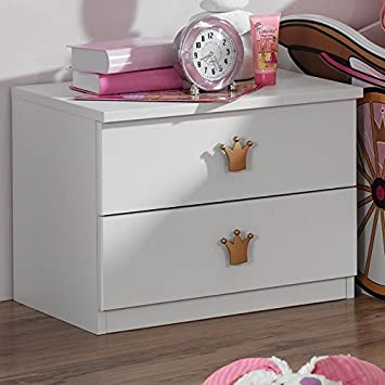 Nachtkommode Weiß Rosa Mädchen Nachttisch Nachtkonsole Nachtkästchen Nako  Abladetisch Kinderzimmer Jugendzimmerkommode Nachtschrank Jugendmöbel24.de