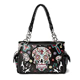 Sugar Skull Purse with Concealed Carry Pocket Day of The Dead Handbag