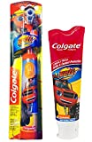 Colgate Blaze And The Monster Machines Toothbrush & Toothpaste Bundle: 2 Items - Powered Toothbrush, Bubble Fruit Toothpaste