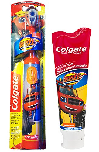 Colgate Blaze And The Monster Machines Toothbrush & Toothpaste Bundle: 2 Items - Powered Toothbrush, Bubble Fruit Toothpaste by Kids Dental Bundle (Image #4)