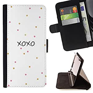 BullDog Case - FOR/Apple Iphone 5C / - / xoxo love kisses sweetheart white /- Monedero de cuero de la PU Llevar cubierta de la caja con el ID Credit Card Slots Flip funda de cuer