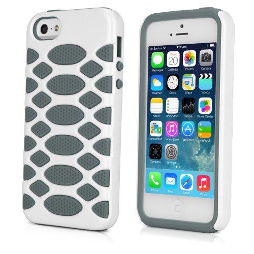 BoxWave HybridCell Apple iPhone 5 Coque en TPU et Silicone avec 2 Housse de protection pour iPhone 5 (Blanc/gris)