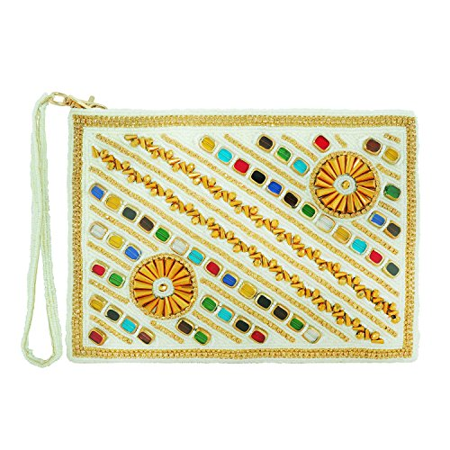 FOR-U White Clutch Waterproof Zip closure 1 Zip Short Handle Straps Beads, Stones and Pearls work Handbag by FOR-U