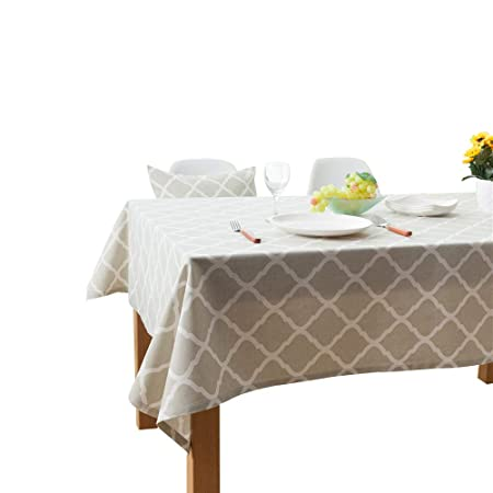 Grey Wipeable Table Cloth Cotton and Linen Stain and Moisture Resistance Plaid