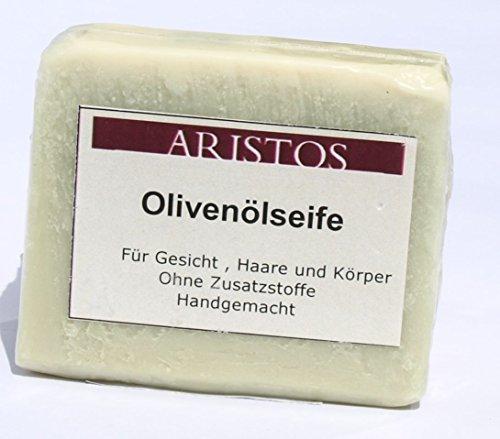 ARISTOS vegane Olivenölseife (Blockseife aus reinem Olivenöl) für Haare Gesicht und Körper