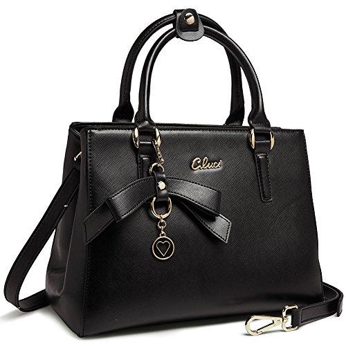CLUCI Leather Handbags Designer Tote Shoulder Bag Satchel Purse for Women Black 10-black