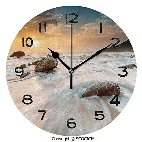 (SCOCICI 10 Inch Round Face Silent Wall Clock Grand Sea Waves On The Beach and Horizon Sky Holiday Calm Dream Light Season Photo Unique Contemporary Home and Office Decor )