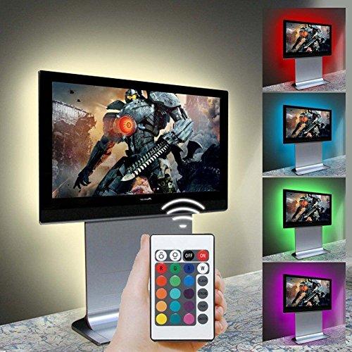 Trenztek USB Powered TV Bias Lighting Kit LED TV Backlight Waterproof Led Flexible Strip Light for TV LCD and Desktop Monitor, RGB/ Pure White/ Warm White 36 Inch (RGB)