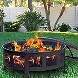 "GHP 30""W x 22""H Black Finish Bravado Mesh Fire Pit w Vinyl Protective Cover"
