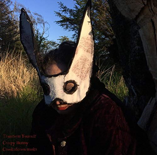 Creepy Bunny mask - paper animal rabbit mask. Victorian Steampunk March Hare White Rabbit Alice in Wonderland bunny rabbit mask costume party masquerade ball (Creepy Alice In Wonderland Costume)