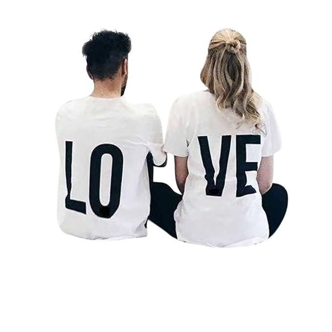 279138ed1278 BURFLY Paar Shirts, 2018 Mode Paar Shirt Love Brief Gedruckt O-Neck Kurzarm-