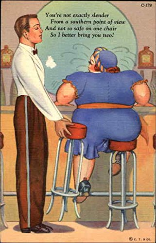 Two Stools Fat People Original Vintage Postcard from CardCow Vintage Postcards