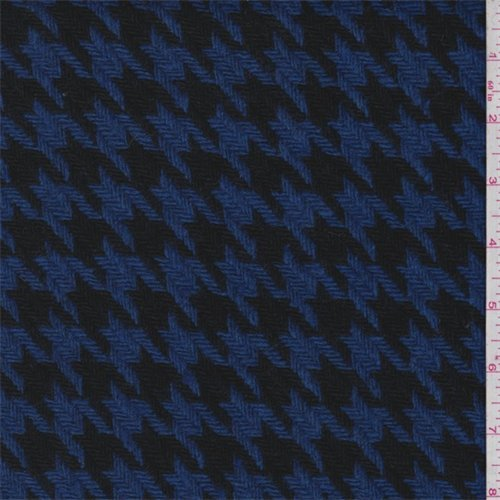 Royal/Black Houndstooth Wool Coating, Fabric By the Yard (Upholstery Fabric Houndstooth)