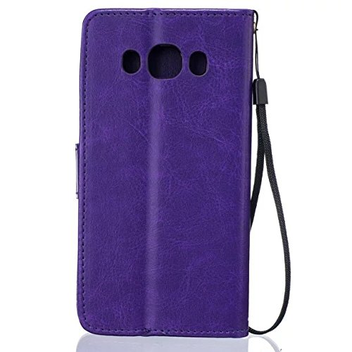 JIALUN-Personality teléfono shell Samsung J510 Funda de cuero de la PU de alta calidad cubierta de la caja Color sólido de la cubierta de la caja del soporte de la cartera de diente de león en relieve Purple