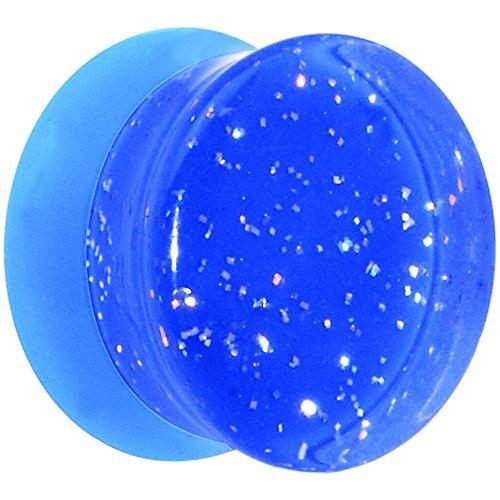 Body Candy Blue Neon Acrylic Glitter Saddle Ear Gauge Plug (1 Piece) 9/16