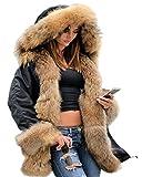 Roiii Women Winter Warm Thick Brown Shade Faux Fur Coat Outdoor Hood Parka Long Jacket Plus Size S M L XL XXL 3XL (Large, Black)