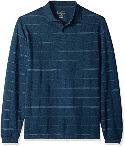 Van Heusen Men's Flex Long Sleeve Jaspe Windowpane Polo Shirt, Turquoise Seabed Plaid, X-Large