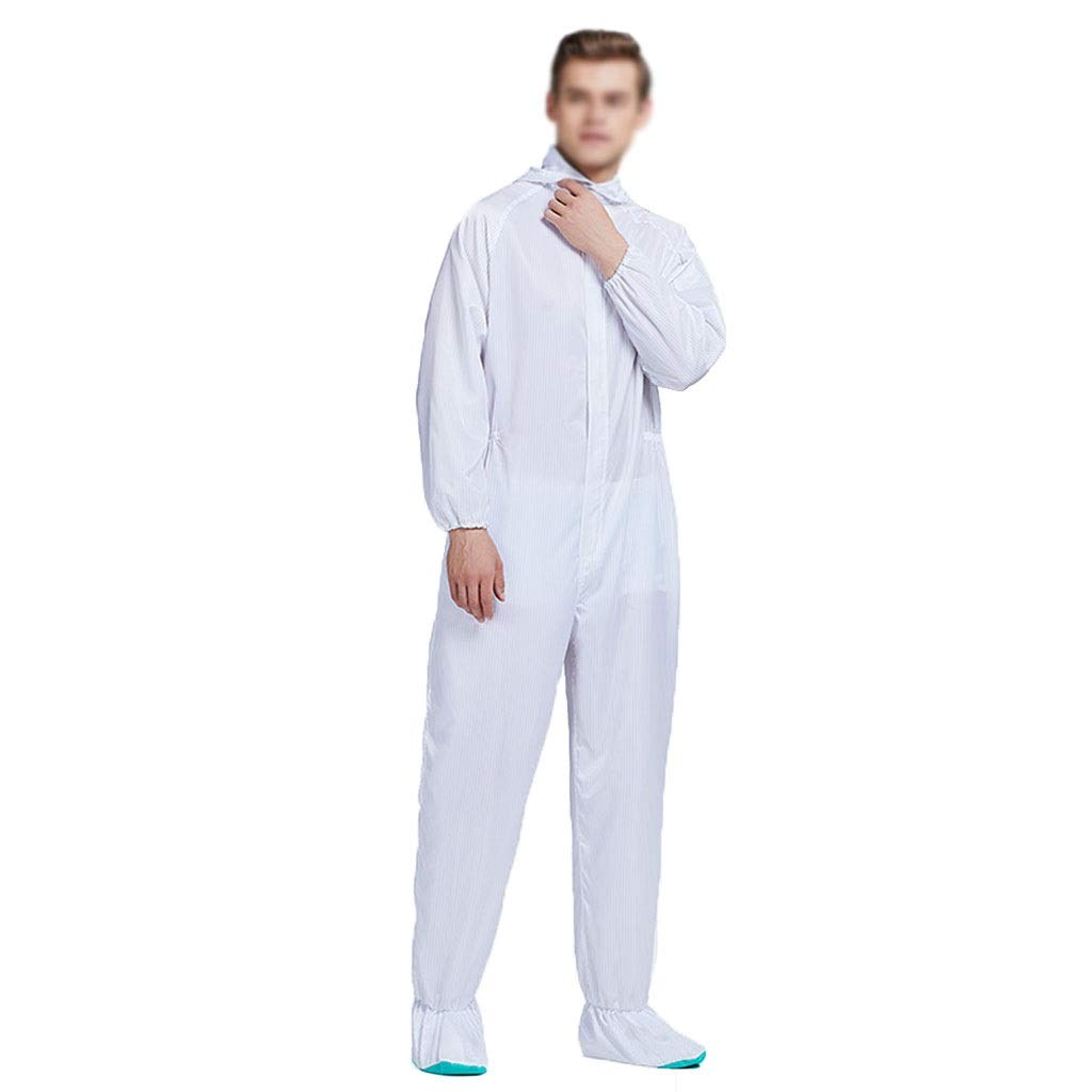 YYTL Anti-Static Clothing, Dust-Proof Protective Clothing, with Foot Cover, Suitable for Food Processing Bio-Engineering in Dust-Free Workshop, 2 Pieces (Color : White, Size : XXXL) by YYTL