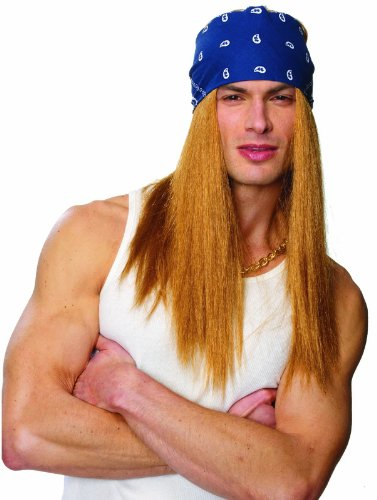 Bret Michaels Rocker Wig with Bandana Yellow/Blue]()
