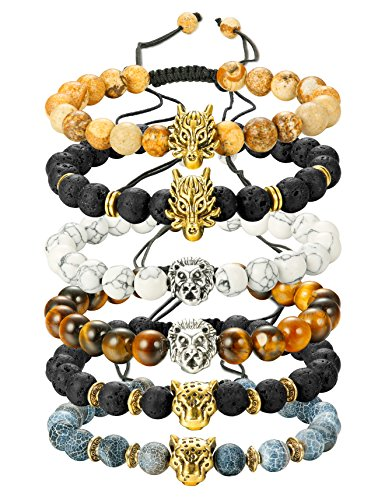 Finrezio 6PCS Mens Bead Bracelets Set Dragon/Lion/Panther Charm Lava Rock Natural Stone Bracelet, 8MM (Style B: 6Pcs of Adjustable) ()