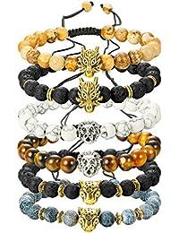 6PCS Mens Bead Bracelets Set Dragon/Lion/Panther Charm...