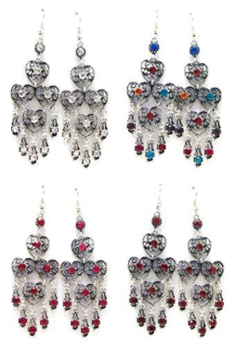 - Linpeng 4 Pairs Chandelier Earrings For Women Girls / Dangle Drop Earrings / Size around Length 2.75